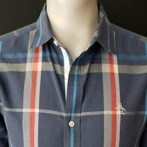 Penguin Mens Plaid Button Navy Shirt Size Medium